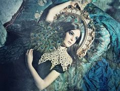 Blue Peacock fashion vintage editorial photography