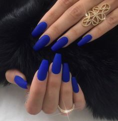 Love these Royal blue coffin shape nails!