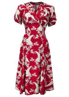40s Tea Dress - Bird of Paradise