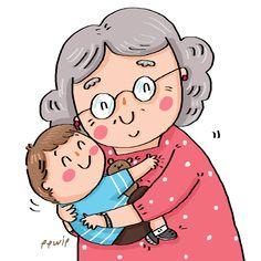 on Behance Art Drawings For Kids, Cartoon Drawings, Cartoon Art, Family Illustration, Cute Illustration, Cartoon Grandma, Happy Grandparents Day, Creative Textiles, Book Design Layout