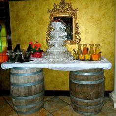 Mimosas bar on wine barreled table for bridal shower