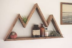 Mountain Wall Art, Shelf, Mountain Home Decor, wall hanging, wall shelf, reclaimed wood, statement piece, modern, industrial, rustic, by BourbonMoth on Etsy https://www.etsy.com/ca/listing/255817268/mountain-wall-art-shelf-mountain-home