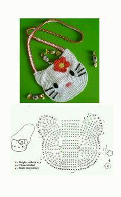 Bolsa de hello kitty a crochet Crochet Girls, Crochet Baby Clothes, Crochet Home, Crochet Motif, Crochet For Kids, Free Crochet, Knit Crochet, Crochet Patterns, Crochet Camera