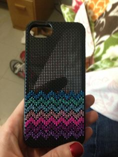 Cross stitch iPhone case | DMC jewel effects thread