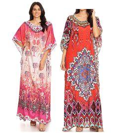 ae112b5ad3 Sakkas Jabari Women's Maxi Short Sleeve Long Beach Kaftan Dress Boho Loose  Gown