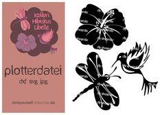 Hibiskus, Libelle und Kolibri, Set mit 3 Motiven (sticken oder plottern)