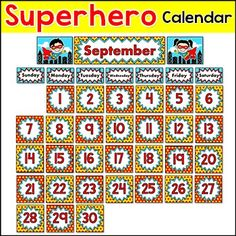 Superhero Calendar - Month & Days of the Week Headers, Num