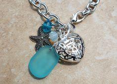 Stunning Lace Heart Seaglass Bold Bracelet Seafoam by InaraJewels