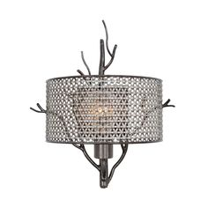 Hand-forged recycled steel and hand-applied finish. Comes with recycled steel mesh shades.
