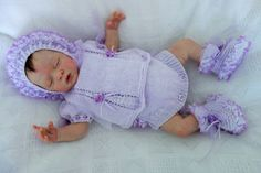 """Hand knitted frilly lace angel top/dress, frilly knickers/pants, bootees and bonnet in lilac DK to fit small newborn or reborn 19-20"""" by KosyKnits on Etsy"""