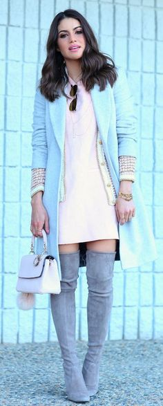 Spring Pastels And Grey Outfit Idea