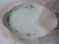 Large Vintage Pink and Green Rose Serving Platter  by thechinagirl