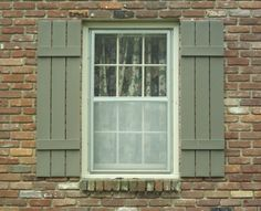 Picture Of Traditional Exterior Window Shutter With Gray Paint Idea Feat Exposed Brick Wall Design