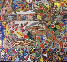 The Hare & the Tortoise / Mirka Mora Australian Painting, Australian Artists, Contemporary Decorative Art, Mosaic Art, Mosaic Tiles, Art Society, Naive Art, Teaching Art, Art Studios