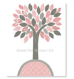 Nursery Tree Print Pink and Gray Nursery Art Girl's Room Decor Grey and Pink Playroom Ideas Baby Shower Gift 8 x 10 or 11 x 14 Print