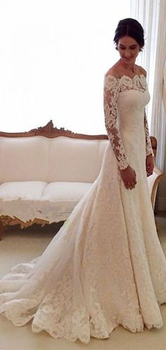 Scalloped Lace Chapel Train Trumpet Long Sleeves Wedding Dress  shedressing.com