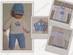 Conjunto Little Prince Crown em croche para bebês