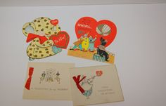 Lot of 4 Vintage Valentines by hipandvintage on Etsy