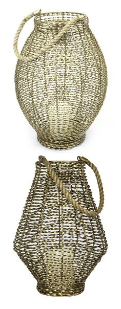 Golden metal lanterns. Rustic and warm. Use indoors or outdoors.