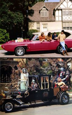 Which would you rather drive - The Monkee Mobile or The Munsters Roadster?  I've gotta go with Herman and Lily...