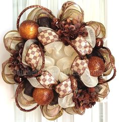 Deco Mesh CHRISTMAS Wreath Chocolate Brown Gold Door Wall Wreath
