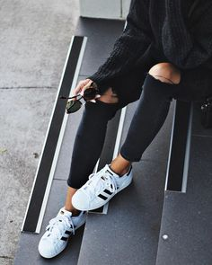 detailed look 11a79 0bfcd via  andicsinger on Instagram White Addidas Shoes, All Black Shoes, Black Adidas  Shoes