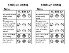 This is a self-assessment rubric for students to evaluate their own writing (primary grades). This format has 2 sheets per page. It is a Word document so that you can edit the criteria students will check themselves on. Currently it has: -My sentences start with a capital letter. -Every sentence ends with a period, question mark, or exclamation point. -I did my best at spelling. -I used my neatest handwriting. -My story makes sense to me.