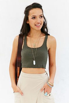 Ecote Ribbed-Knit Cropped Racerback Tank Top #UrbanOutfitters