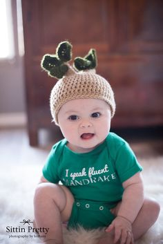 Chyler's 6 month baby pics Harry Potter Mandrake outfit