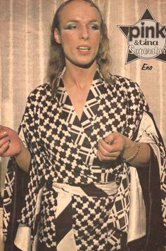 "Brian Eno's look a la 'madame butterfly""."