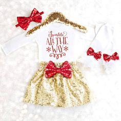 Sparkly Christmas Outfit for the most GLAMOROUS little Girls! The PERFECT outfit for Holiday Festivities! Ring in the Holidays in style and let her be the belle of the ball...