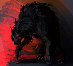 just a red dragon drawing Dark Fantasy Art, Dark Art, Fantasy Creatures, Mythical Creatures, Shadow Wolf, Demon Wolf, Scary Dogs, Werewolf Art, Cool Monsters
