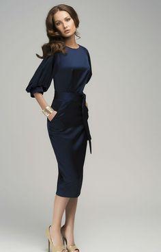 Schicke dunkelblaue Maxi-Kleid Abend Retro-Stil von Dioriss auf Etsy