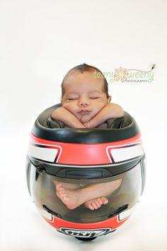 Motorcycle helmet baby photo idea | #motobaby #bikerbaby