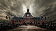 Central Railroad Terminal - An image of the Historic Central Railroad Terminal of New Jersey.   Lot of rain and drizzle overhead at Liberty State…