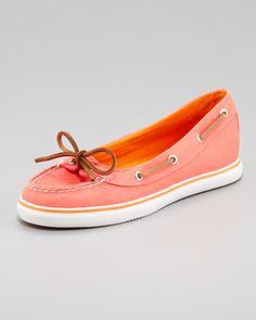 Lola Canvas Slip-On Sneaker, Neon Salmon by Sperry Top-Sider at Neiman Marcus.