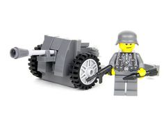 World War 2 German PAK38 artillery w/ soldier made with real LEGO(R) bricks
