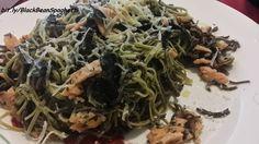 Edamame & Black Bean spaghetti with smoked salmon and nori seaweed!