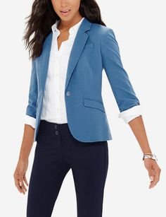 Soft Topstitched Jacket - A soft fabric and playful colors tone down the formalities while keeping you confidently presentable.