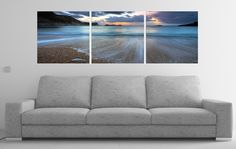 The tide recedes at sunset and the day concludes. Enjoy the ocean at its smoothest. On sale $220 Available in 3 sizes. Elementem Photography, triptych, ocean, beach, waves, tide, surfer, surf