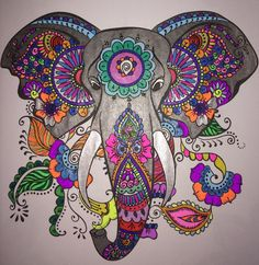 Adult Coloring Books: A Coloring Book for Adults Featuring Mandalas and Henna Inspired Flowers, Animals, and Paisley Patterns Adult Coloring, Coloring Books, Elephant Artwork, Yoga Studio Design, Mandala Elephant, Elephant Tattoos, Mandala Drawing, Hippie Art, Pen Art