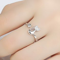 Delicate Rose Gold Silver Tone Cat Ring with Crystal inlay