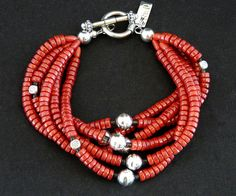 Red Coral 6-Strand Bracelet with Sterling Silver Benchmade Rounds & Sterling Toggle Clasp
