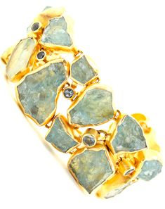 Pamela Huizenga: rough aquamarine bracelet.
