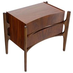 Exposed Frame, Swedish Mid-Century Modern End Table or Nightstand   From a unique collection of antique and modern night stands at https://www.1stdibs.com/furniture/tables/night-stands/