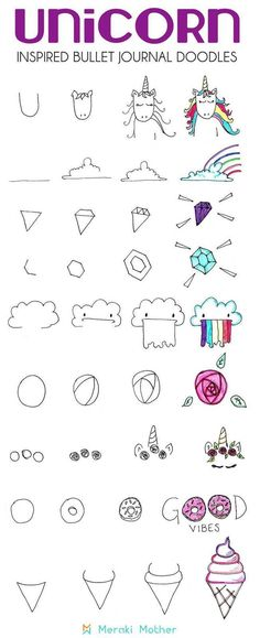 Unicorn Bullet Journal Theme Unicorn doodles to decorate your pages, bullet journals, notebooks, planners and anything you want. creative and easy step by step tutorial to draw the easiest and cutest unicorn doodles. Art Doodle, Doodle Drawings, Easy Drawings, Doodle Pages, Magic Doodle, Doodle Fonts, Bullet Journal Themes, Bullet Journal Inspiration, Journal Ideas