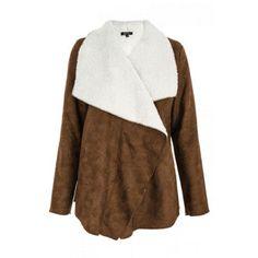 Quiz Tan Fur Lined Waterfall Jacket- at Debenhams.com