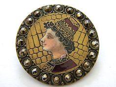 Antique enamel metal button brass victorian cut steel french cloisonne champleve