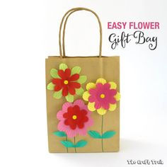 Easy gift bag with cupcake liner flowers