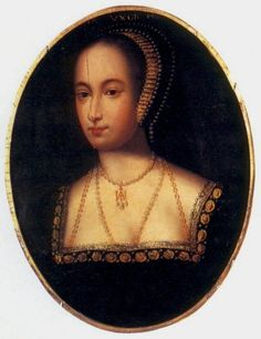 Anne Boleyn, c1533, unknown artist. This miniature portrait of Henry VIII's second wife. She wears a golden necklace with the interlaced initials H and A.